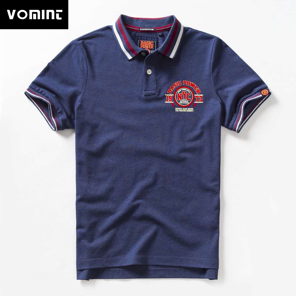 Vomint 2019 Summer Mens   Polo   shirts Cotton Shirts Short Sleeve Letter Embroidered Emblem Simple Shirt for Male BP6905