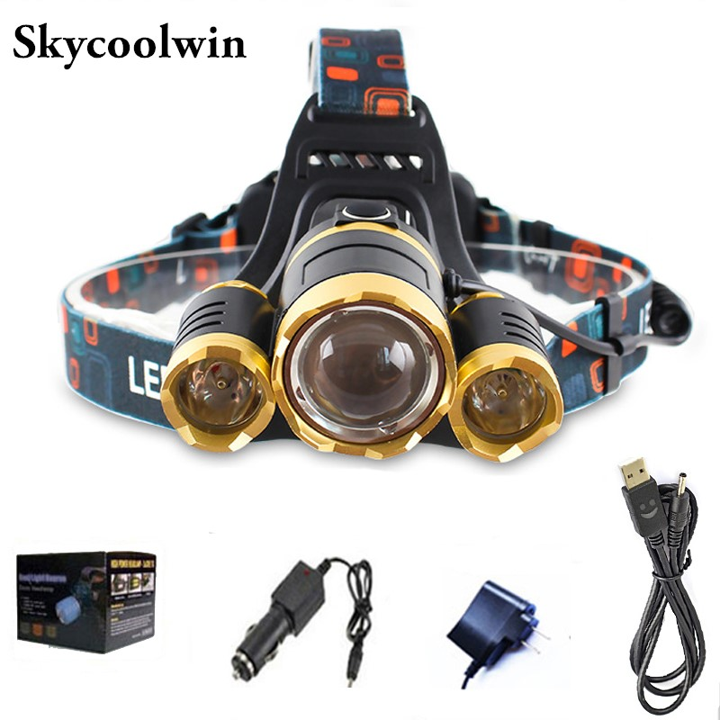 5000lumens Headlamp Waterproof LED Head Light 3 LEDs LED Headlight / Fishing Flashlight Torch Head Lamp + Charger + Car Charger