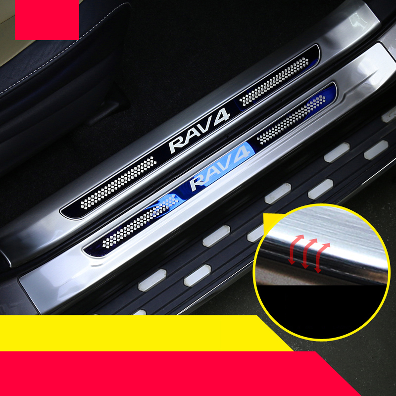 lsrtw2017 stainless steel car door sill for toyota rav4 2013 2014 2015 2016 2017 2018 xa40