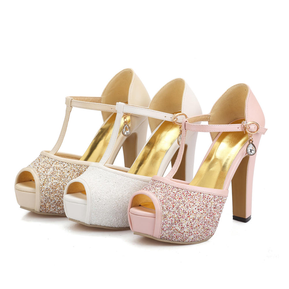 9197912761981d Woman Casual pink New Summer white Sandals Shoes Big Apricot High Bling  Office 33 Size Strap ...
