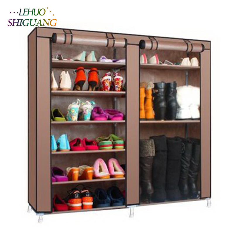 Double row 9 grid Shoe rack Non-woven fabric organizer storage cabinet Assembly shelf Shoe cabinet home living room Furniture single row 9 grid shoe rack non woven fabric organizer storage cabinet assembly shelf shoe cabinet home living room furniture