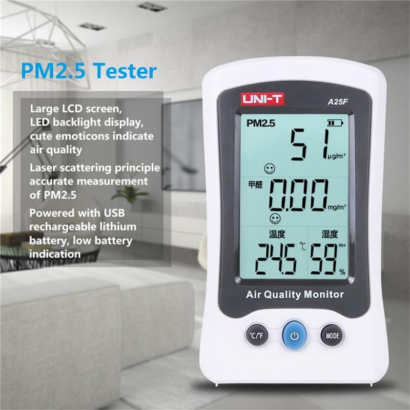 UNI-T A25F Desktop Formaldehyde PM2.5 Detector Air Quality Temperature Measurement Meter with LCD display Formaldehyde testerUNI-T A25F Desktop Formaldehyde PM2.5 Detector Air Quality Temperature Measurement Meter with LCD display Formaldehyde tester