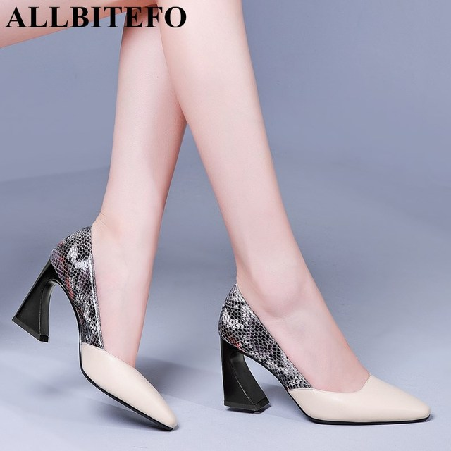 ALLBITEFO wysokiej jakości wąż tekstury naturalne prawdziwej skóry kobiet obcasy buty moda mieszane kolory dziewczyny buty na wysokim obcasie kobieta