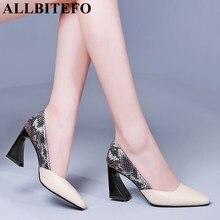 ALLBITEFO 高品質スネークテクスチャ天然本革の女性ハイヒールの靴のファッション混合色の少女ハイヒールの靴の女性