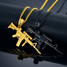Rock Style Gun Jewelry Men Women Necklaces & Pendants 50/55cm Black Gold/18K Gold Plated Stainless Steel Gun Necklace Vintage