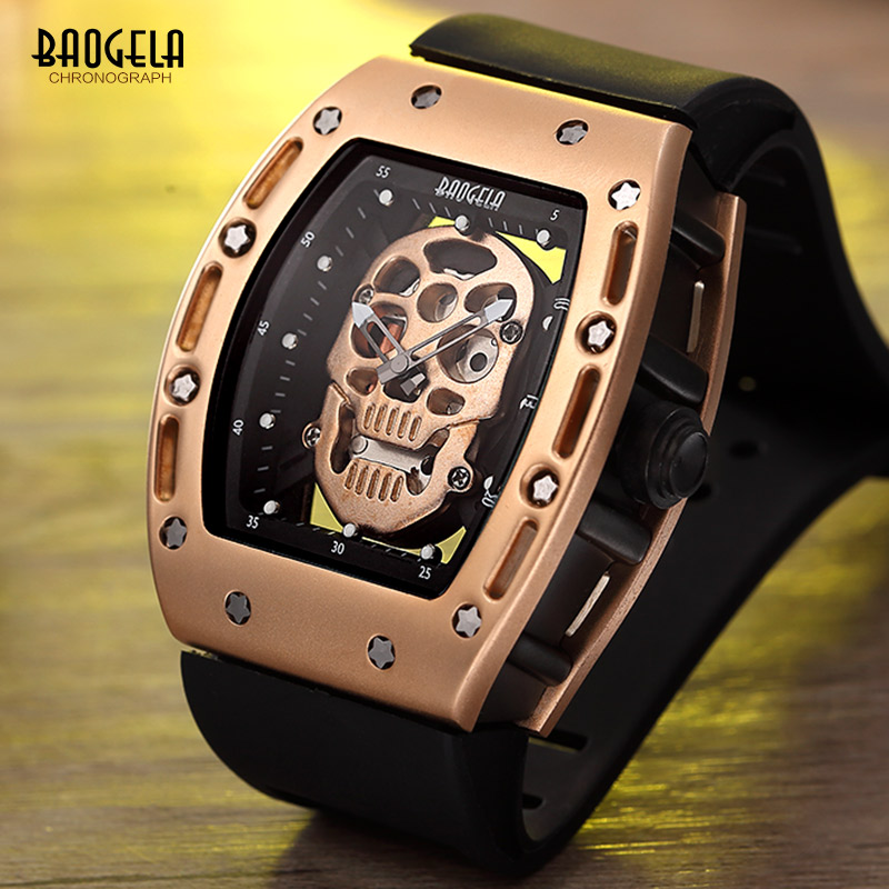 Baogela Fashion Rectangle Skeleton Dial Luminous Hands Silicone Strap Army Sport Quartz Watches BGL1612G 3|watch f|watch fashion|watches quartz watche - title=