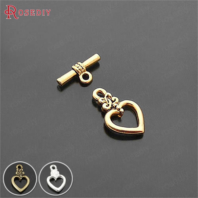 20Sets Heart:17x13MM Antique Gold Color Zinc Alloy Heart Shape O Toggle Clasps Bracelets Clasps Diy Jewelry Findings Accessories