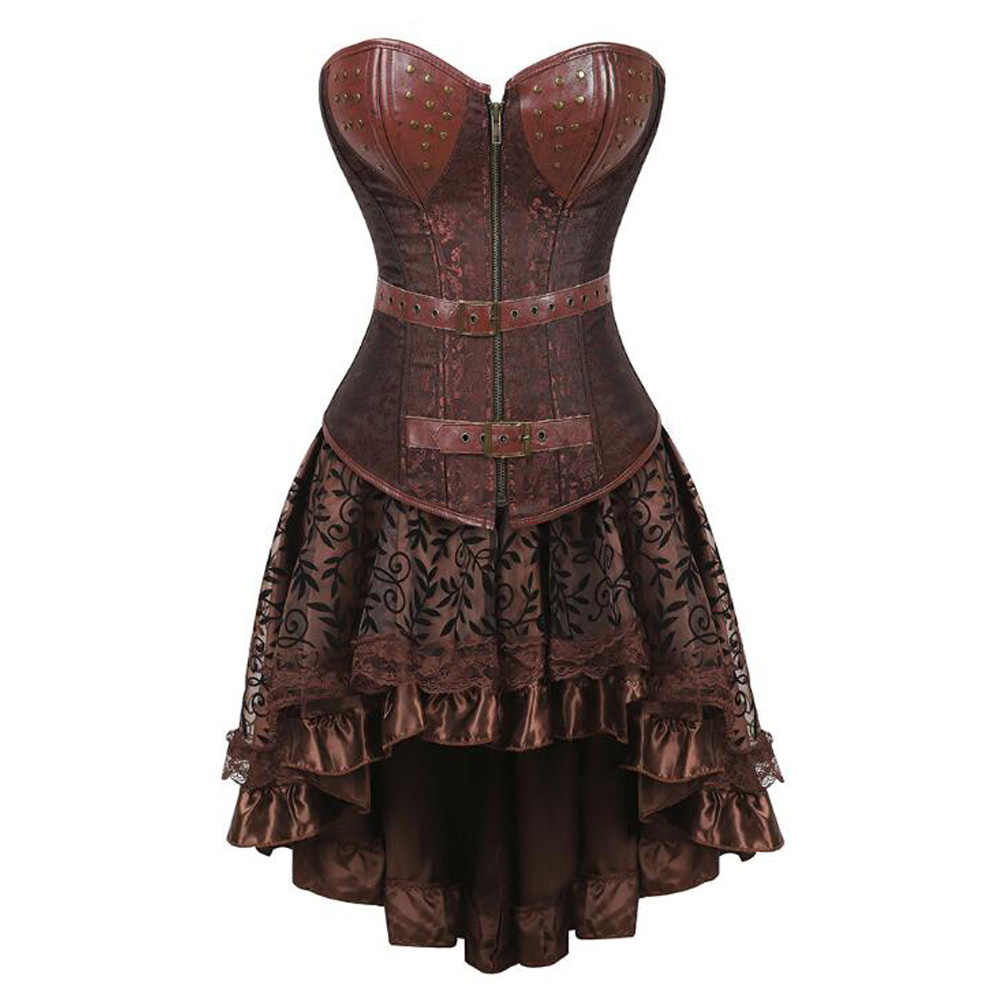 Womens Gothic Corset Dress Vintage 2 Piece Set Bodyshaper Steampunk Bustier Dress Victorian Cosplay Costume Lace Party Dress