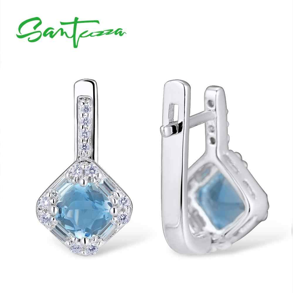 SANTUZZA Schmuck Set für Frauen Chic Braut Shiny Kissen Blau Kristall Ohrringe Ring Set 925 Sterling Silber Mode Schmuck Set