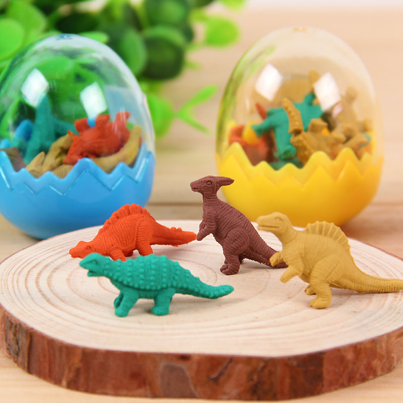 Fashion Students Stationary Gift Cute Kawaii Dinosaur Egg Pencil Rubber Set Mini Animal Erasers For Kids Office School Supplies