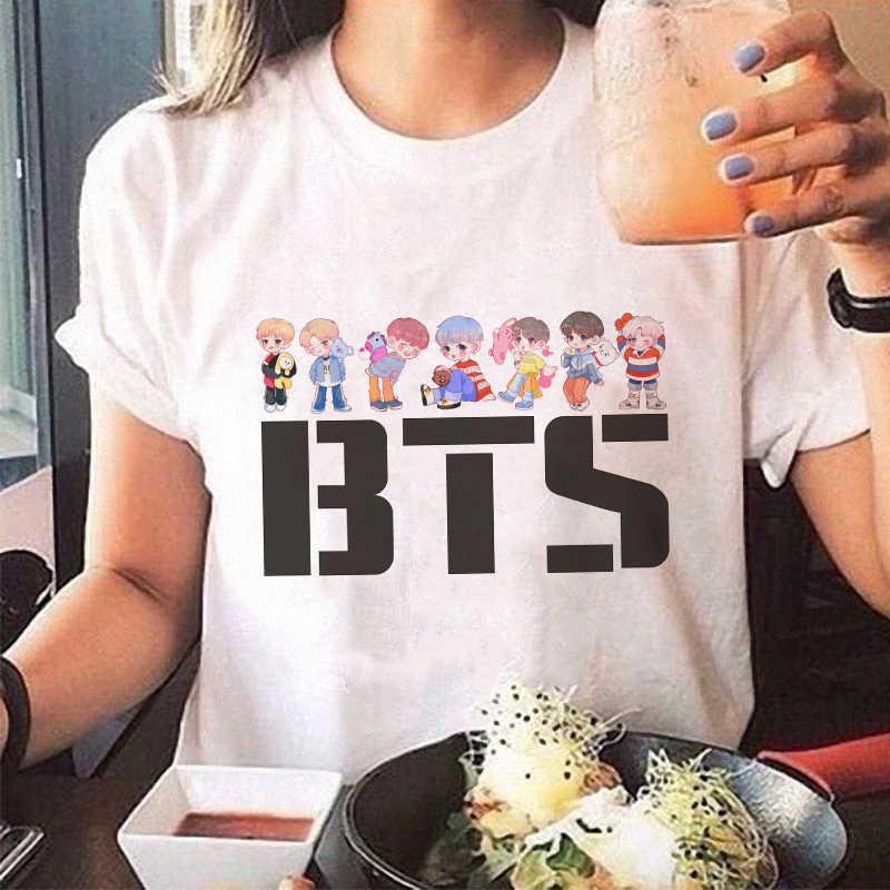 Korean Style Vogue Tee Shirt Femme Kawaii Streetwear Tshirt Acessorios Print Plus Size T-shirt White Women Tumblr