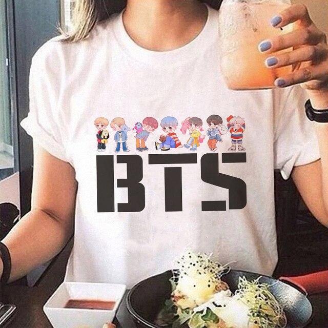 Korean Style Vogue Tee Shirt Femme Kawaii Streetwear Bts Tshirt Acessorios Bt21 Print Plus Size T