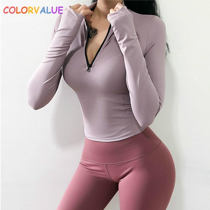 ✔  Colorvalue Водонепроницаемый Половина Молнии Спортивные Спортивные Рубашки Женщины Slim Fit с длинны ①