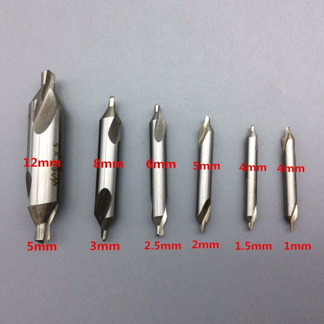 6pcs HSS High Speed Steel Center Drill Bits Set Metric Combined Countersink Kit 60 Degree Angle 1.0mm 1.5mm 2mm 2.5mm 3mm 5mm