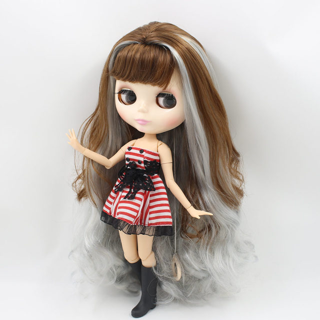 Factory Neo Blythe Doll Brown Grey Hair Jointed Body 30cm