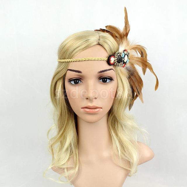 aef31735060448 Festival American Indian Gypsy Perlen Geflochtene Feder Stirnband Boho Hippie  Stirnband Kopfschmuck Frauen Haar Zubehör