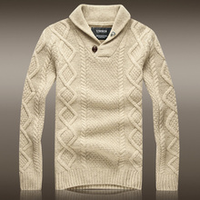 """2016 Sale Top """"european And American Style Men Sweater Sudaderas Australian Men's Winter Thick Wool Sweater Coat Lapel Pullover"""