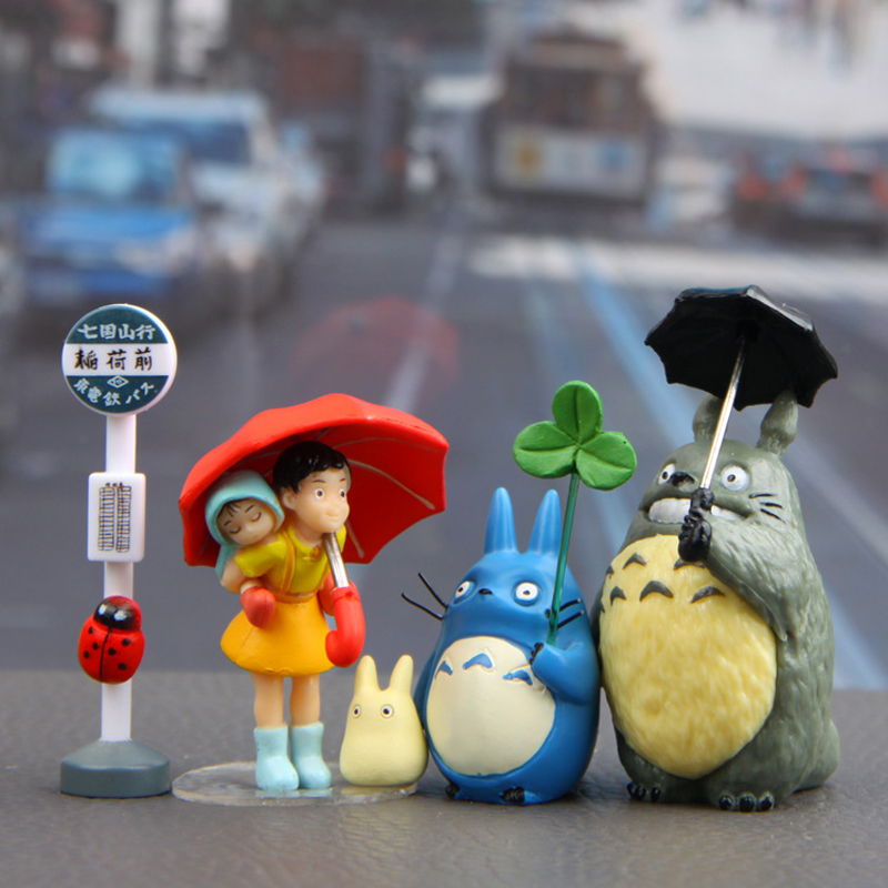 4pcs/lot Studio Ghibli Toy My Neighbor Totoro Umbrella Satsuki Mei Street Lamp Bus Station Tree PVC Action Figure Classic