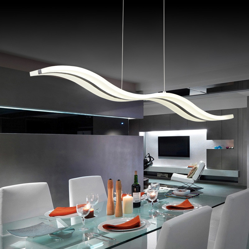 LED Pendant Lights Modern Kitchen Dining Room Acrylic Lamp Crystal Table 3D Wave
