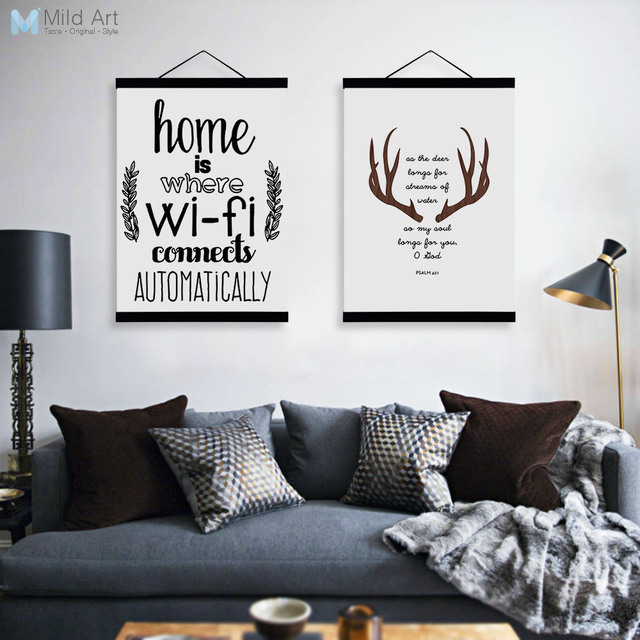 Us 8 36 47 Off Abstract Deer Head Wifi Quotes Wooden Framed Canvas Paintings Modern Nordic Home Decor Big Wall Art Print Pictures Poster Scroll In