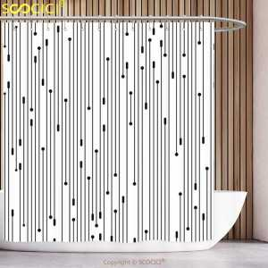 Shower Curtain Decor-Set Bathroom Modern White Black Art Fun Links Graphic-Form Minimalist-Line-Display