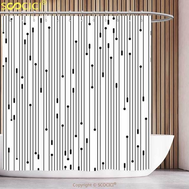 Fun Shower Curtain Modern Art Minimalist Line Display Contemporary ...