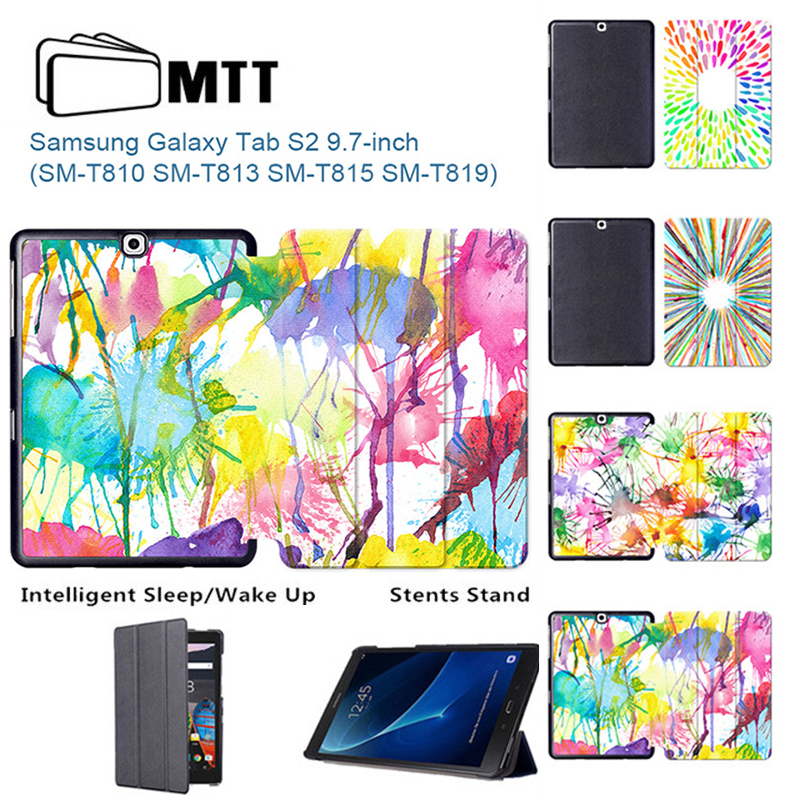 MTT Aquarelle Painted Skin PU Leather For Galaxy Tab S2 9.7 SM-T810 SM-T815 Case Cover For Samsung Galaxy Tab S2 9.7 T813 T819