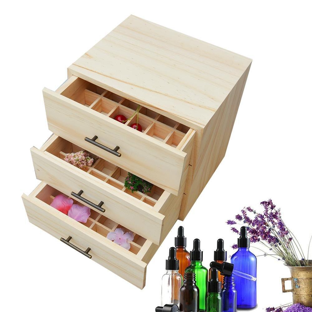 Boîte de stockage de bouteilles d'huile essentielle en bois de 3 couches porte la serrure en métal de récipient d'aromathérapie d'organisateur