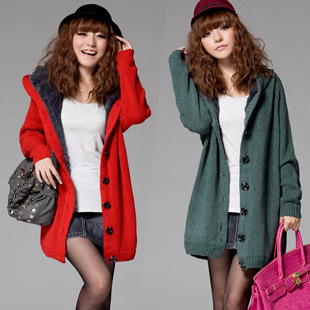 2015 new autumn winter women medium-long thickening sweater outerwear girls cardigan plus size fur Trench coats - Little Walnut Leisure-Life Store store