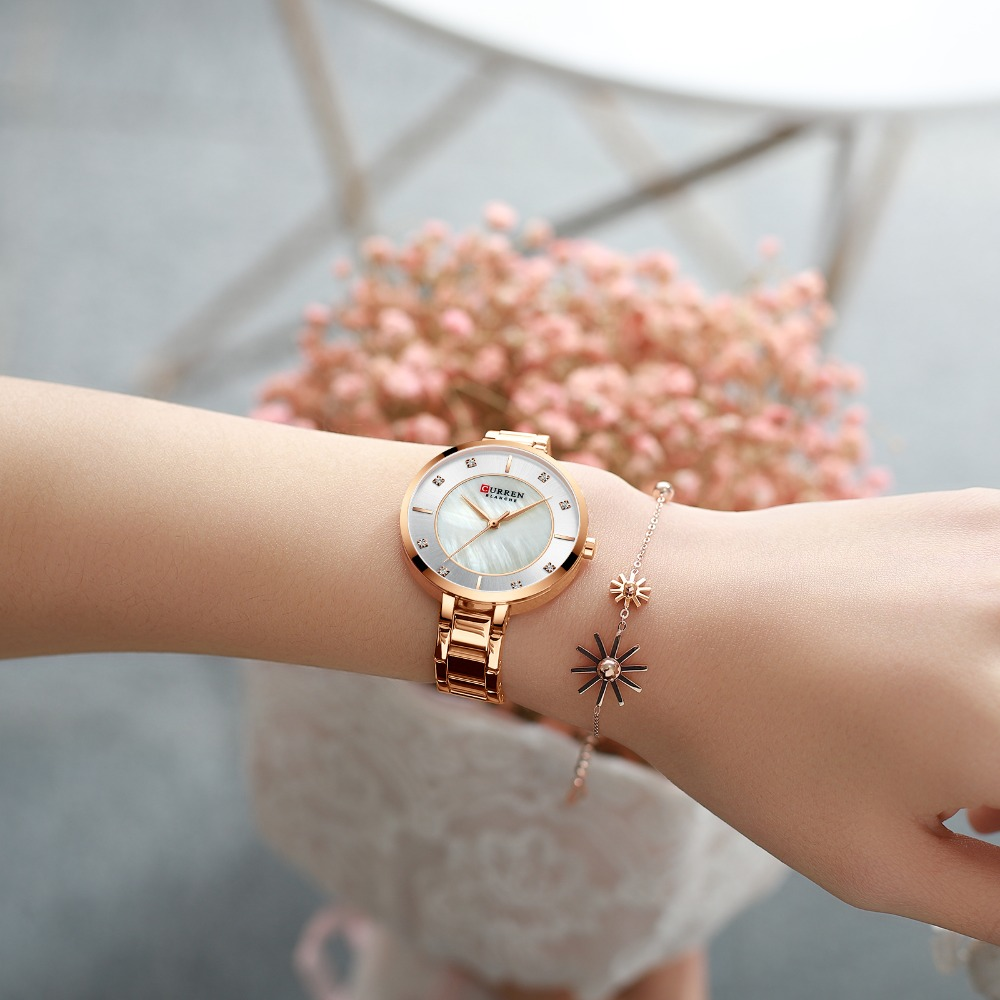 New Watches Women CURREN Fashion Luxury Rhinestone Dial Quartz Clock Waterproof Stainless Steel Band Wristwatch for Ladies
