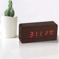 4 Colors Large Size LED Wooden Alarm Clocks With Thermometer Rectangle Table Clocks Digital Clock Classic