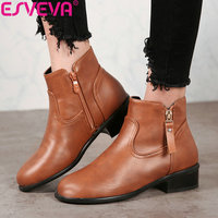 ESVEVA 2019 Women Shoes Round Toe PU Square Heels Ankle Boots Winter Boots Zip Boots for Women Low Heels Classical Size 34 43