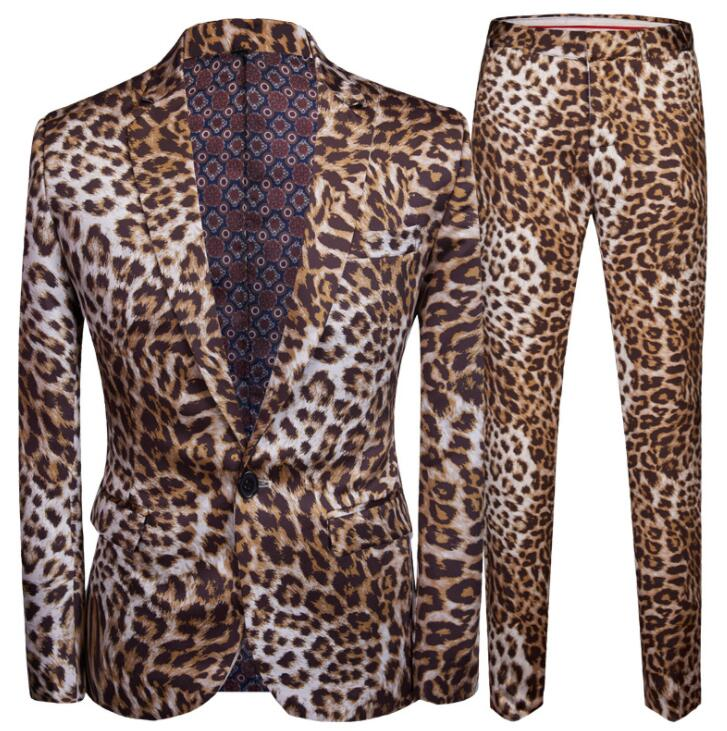 Leopard Print Blazer Men Groom Suit Set With Pants Mens Slim Suits Costard Homme Singer Star Style Stage Clothing Formal Dress