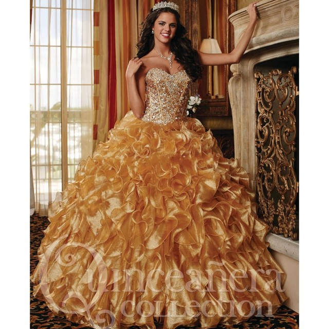 Vestidos Sweetheart Frisada do Espartilho do Ouro Vestidos Quinceanera 2016 Cascading Ruffles Longos Vestidos De Baile para Meninas Festa de Aniversário
