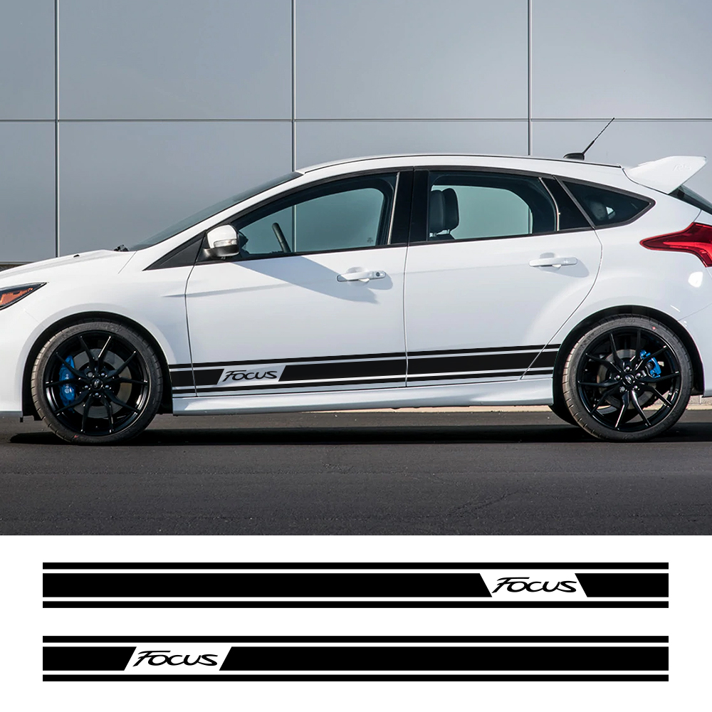 Car Side Body Stickers Long Stripe DIY Auto Vinyl Racing Sports Styling Decals For Ford Focus 2 3 MK2 MK3 Tuning Car Accessories