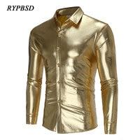 2018 New Spring Gold Mens Shirt Shiny Shirt Gold Men Silver Black Long Sleeve Camisa Masculina