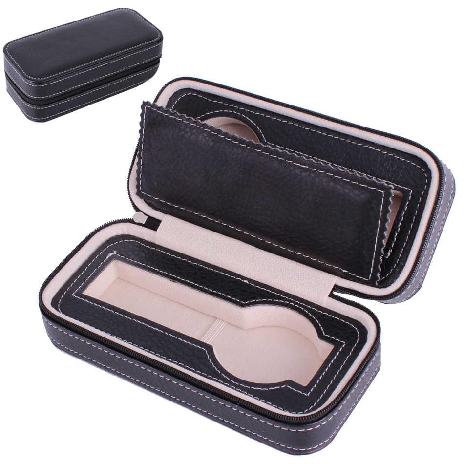 יוקרה אישית רוכסן 2 חריצים NOOLIM חום נייד שעון צמיד עור השחור PU Case תיק קופסא אחסון נסיעות