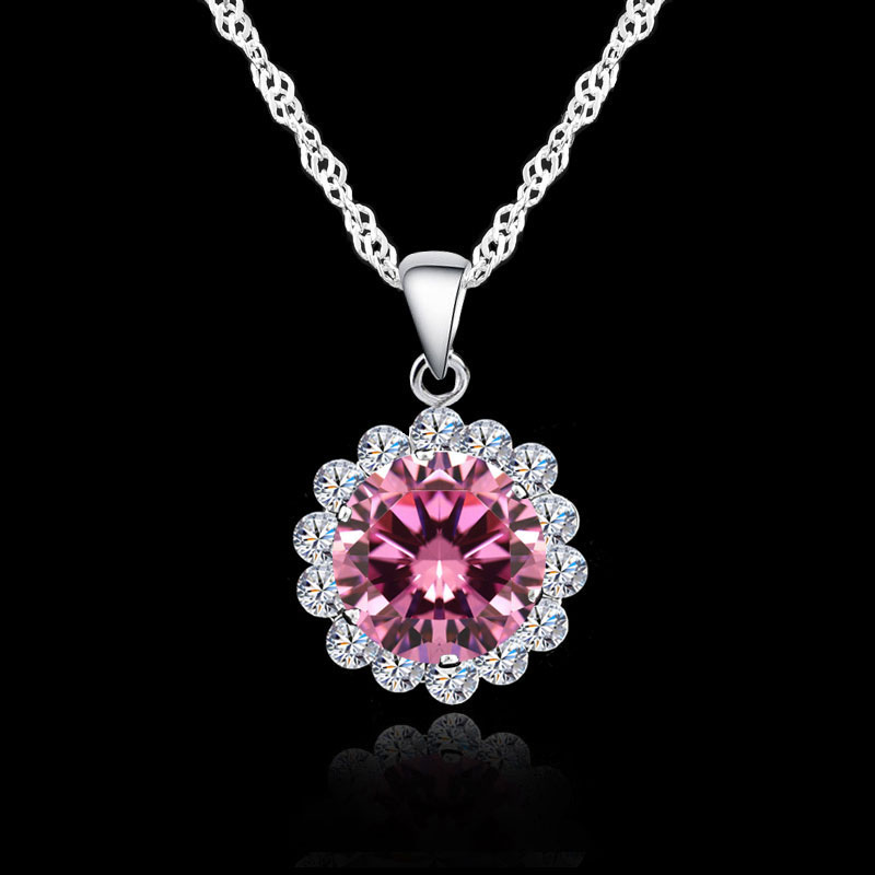 Necklaces Pendants Crystal Silver 925 Fashion Bridal Wedding Jewelry For Women Cubic Zirconia Necklace Pendant 7 Colors
