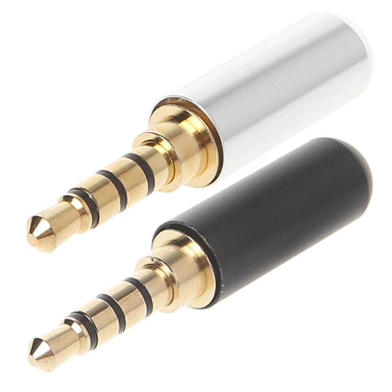 3.5mm 4 Pole Earphones Soldering Jack Male Headphone Repair Jack Cable Plug Solder Adapters Metal Alloy Audio Soldering Spring