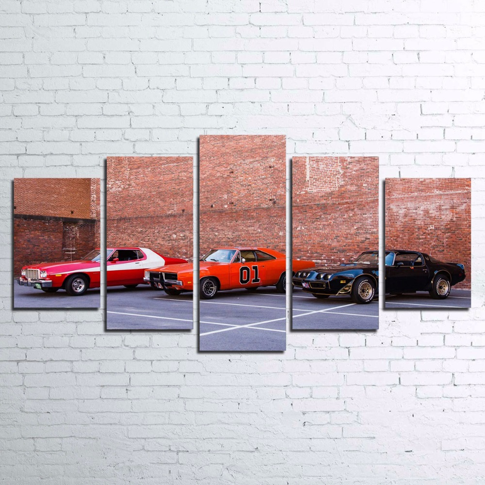 Framework Canvas Home Decor Wall Art For Living Room Wall Art Decor 5P Smokey And The Bandit Painting Sports Car Poster