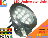 DMX512 3 Channel 36W RGB 3in1 LED Underwater Light 24V Underwater Floodlight IP68 stainless steel Waterproof Pond Lamp 8PCs/Lot