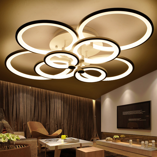 Top led chandeliers for living room bedroom dining room acrylic top led chandeliers for living room bedroom dining room acrylic rings ceiling mounting chandelier for home aloadofball Image collections