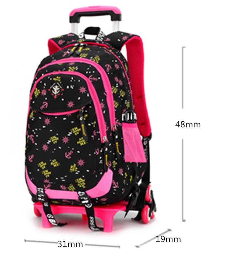 2/6 roues haute qualité filles chariot sac à dos cartable sacs orthopédiques pour enfants chariot cartable garçons sac à dos - 2