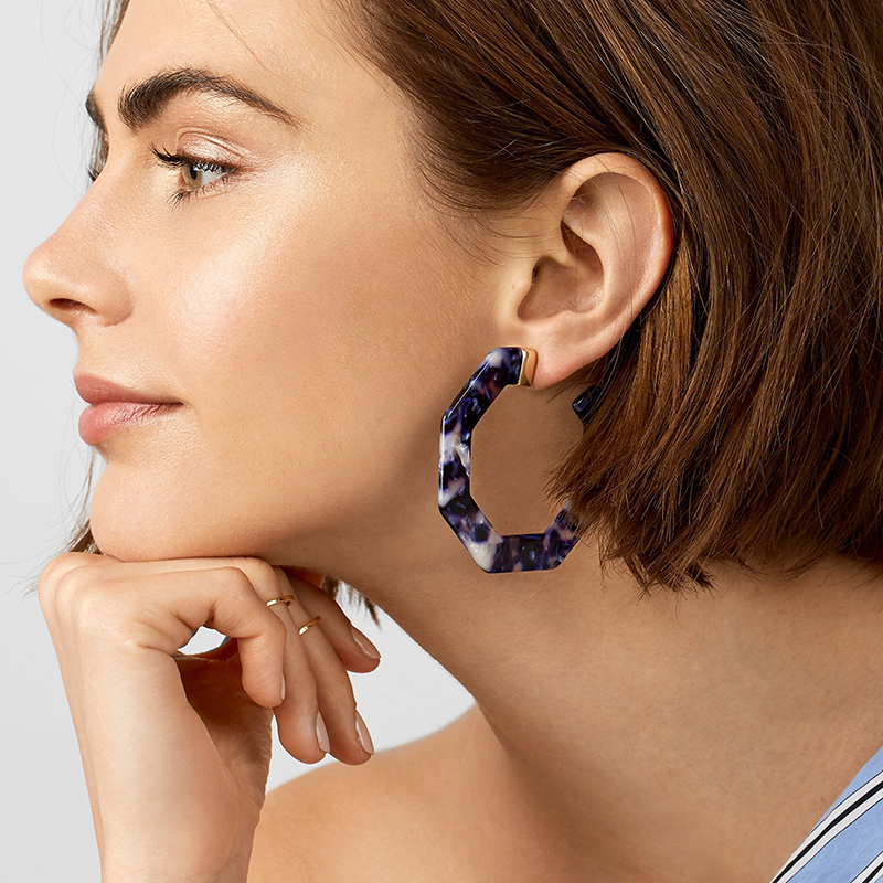 2018 New Exaggerated Acetate Acrylic Drop Earring For Women Dark Blue Statement Large Geometry Polygon Big Earring Jewelry Gift