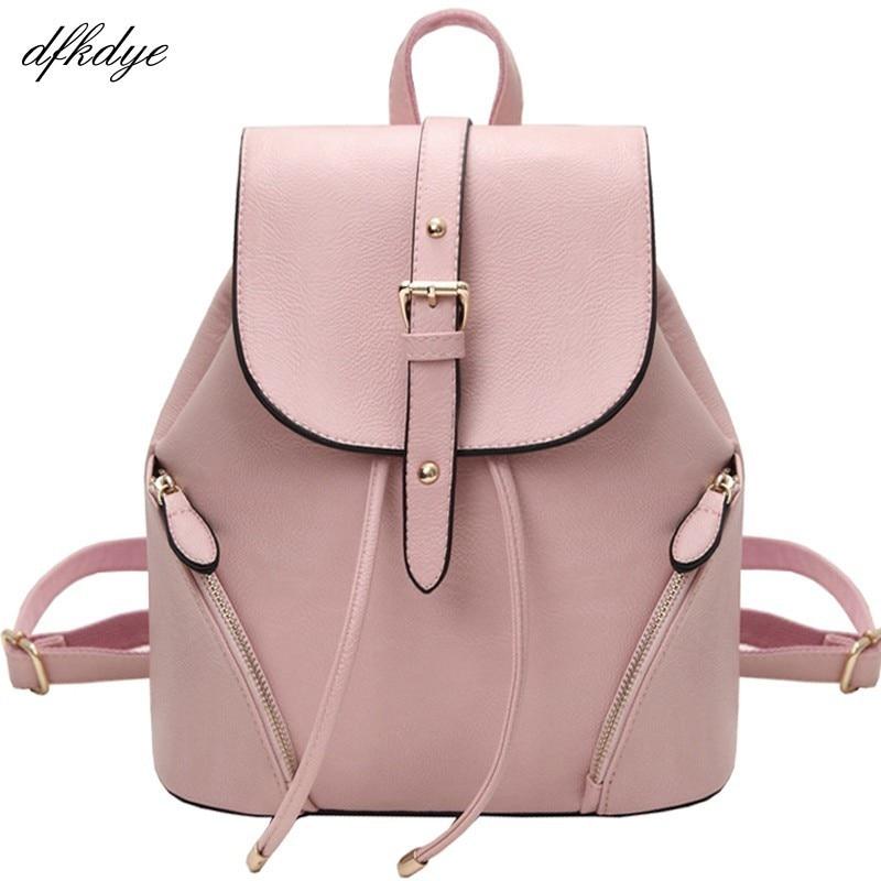 Backpacks School Bag For Teenage Girls Women Pink Backpack Vintage Pu Leather Large Black Rucksack Fashion Mochila