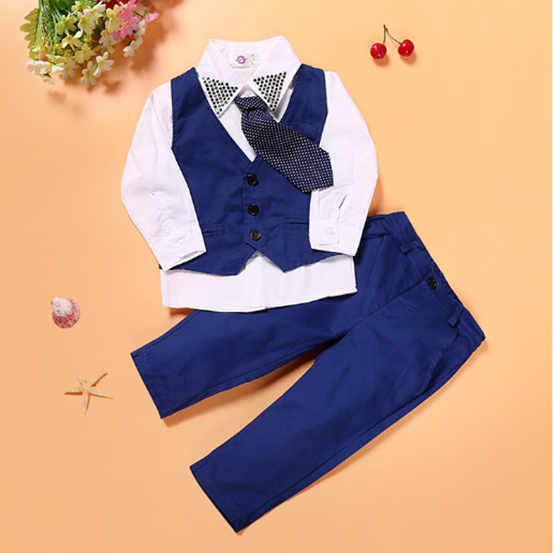 2-7T New spring autumn gentleman style kids suit baby boy clothing set Vest+ Long-sleeves Shirt+ pant 3pcs Children's suits kids shirt vest pant set 3pcs spring new children s clothing boys long sleeve gentleman suit baby striped trousers clothes