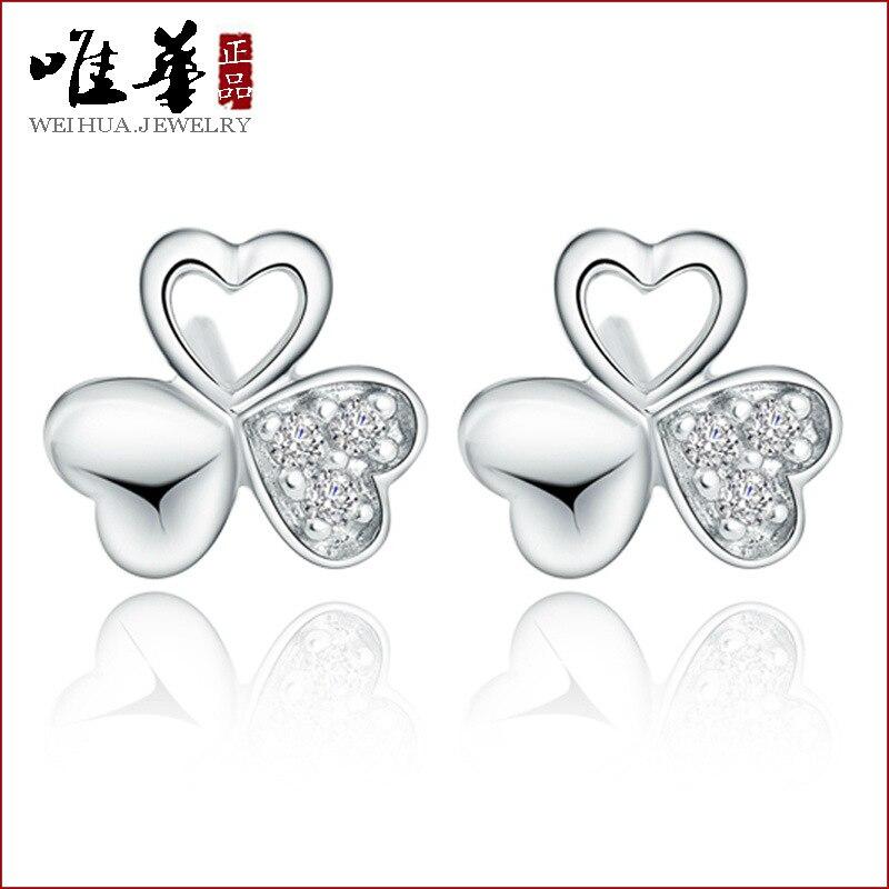 Atacado 925 brincos brincos de prata clover feminino coreano moda jóias  brincos atacado pura fungo branco eb4b767b11