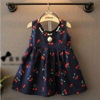 Summer Girls Lovely Cherry Backless Short Dress Pearl Lace Pattern Kids Sleeveless Children Dress Cute Sunny