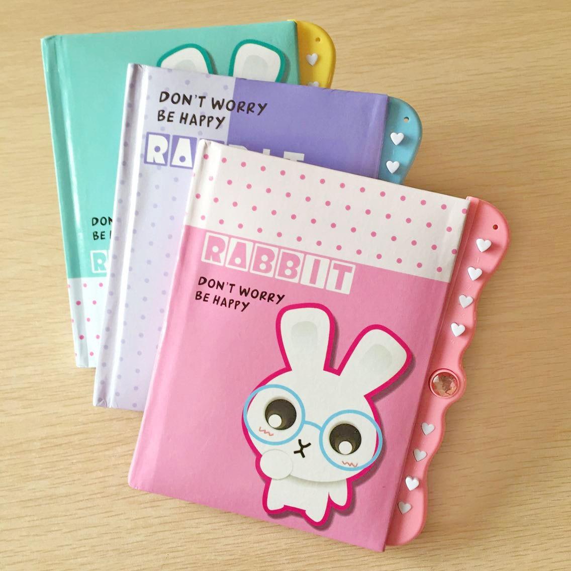 Cartoon Diary: Kwaii Rabbit Student Password Lock Diary Cute Cartoon
