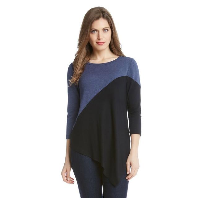 9c3966c831 New Fashion Summer Women T-shirt Stitching Collision Color Shirt Irregular  Hem Casual Tops